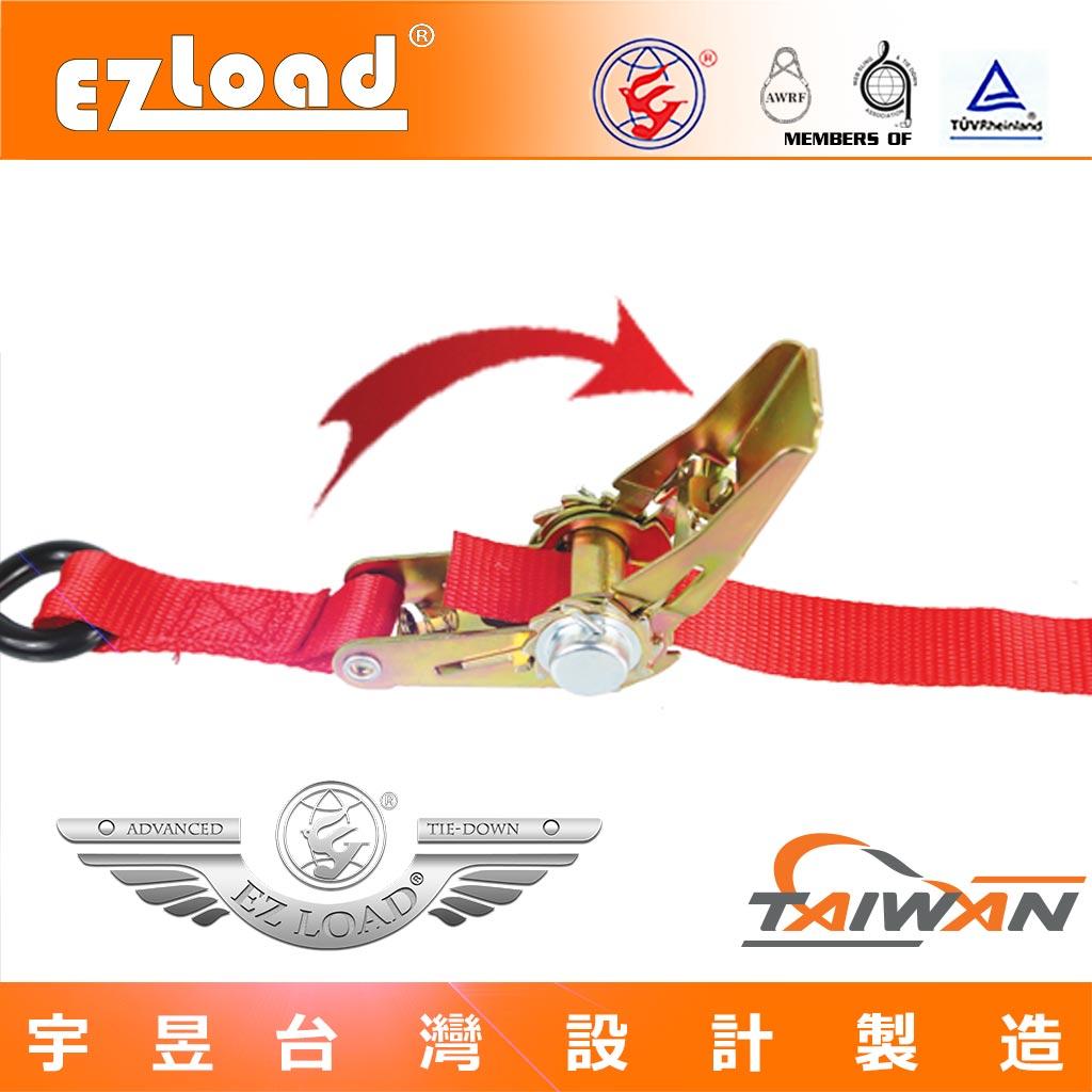 將織帶穿過,一英寸無阻力手拉器的軸心 拉緊器棘輪款附綑綁帶繩
